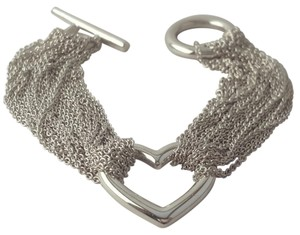 Tiffany & Co. Tiffany And Company Mesh Collection Multi Strand Heart In Toggle Bracelet Designed In Sterling Silver