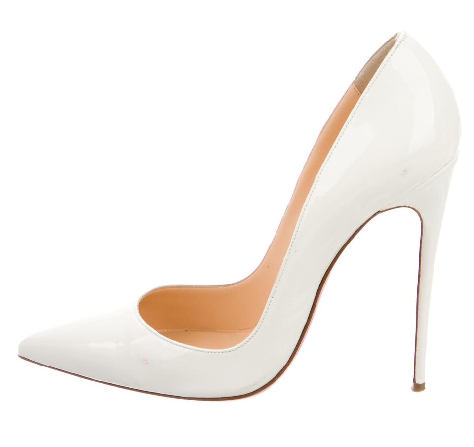 5aa3fa761f5c Christian Louboutin Patent Leather Pointed Toe Pigalle So Kate Red Sole White  Pumps Image 0 ...