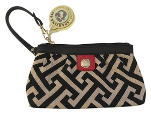Spartina 449 Genuine Leather Natural Linen Tan Kakhi Wristlet in Tan, Black and Red