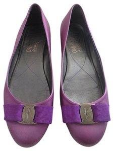 Salvatore Ferragamo Bow Purple Flats