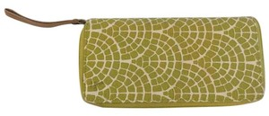 India Boutique Chartreuse Green and White Linen Travel Wristlet