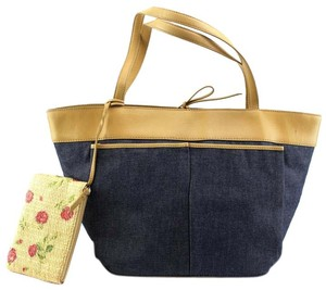 Ann Taylor Tote in Blue, Tan