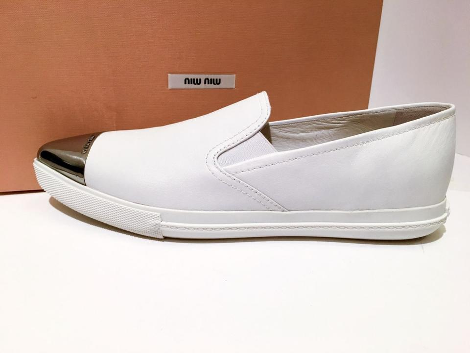 Slip Cap Metal Miu Toe Miu Sneaker Skate On Sneakers White TOP0Aq7w