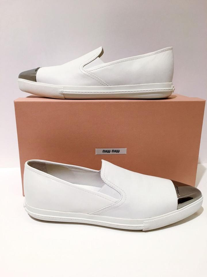 Metal Sneaker Sneakers White Skate Toe Miu Cap Slip Miu On EYgwzqSnTS