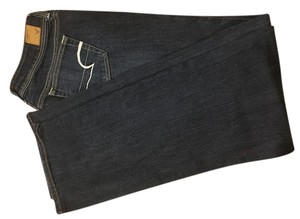 American Eagle Outfitters Long Straight Leg Jeans-Dark Rinse