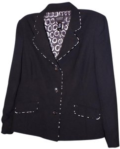 Liz Claiborne Business Polyester Polished Classic Front Flap Black Blazer