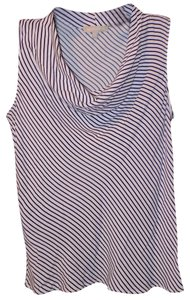 Banana Republic Rayon Striped Pinstripe Draped Soft Top White & Black