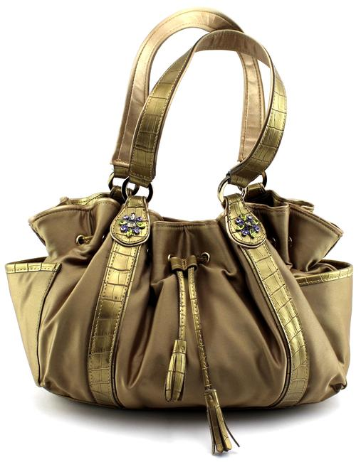 Item - Croc Embossed Drawstring Purse Beige Satin Hobo Bag