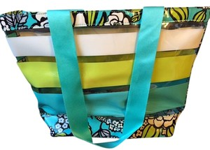 Vera Bradley Plastic See-through Tote in Teal & Green