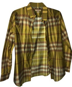 Burberry London Button Down Shirt Green check