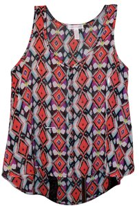 Ambiance Apparel Aztec Sheer Print Sheath Bold Top Multi-colored