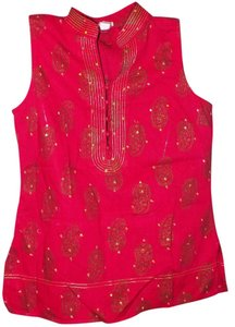 Old Navy Print Sheath Bold Sequin Metallic Top Red