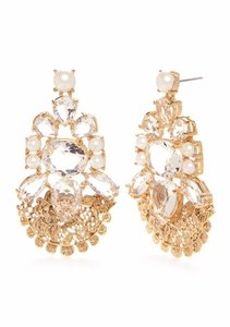 Kate Spade Gold-Tone Crystal and Pearl Drop Earrings