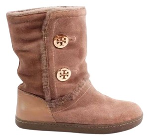 Tory Burch Shearling Gold Medallion Leather Suede Ugg Rubber Soles Light Pink/Mauve Boots