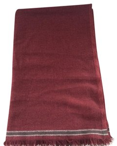 Brunello Cucinelli Brunello Cucinelli 100% Cashmere NWT Red Scarf with Stripe Detail