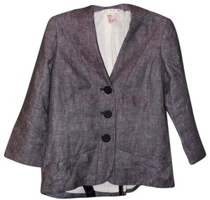 Max Studio Linen Fitted Detail Menswear Inspired Luxury Gray Blazer