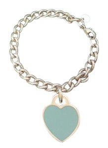 Tiffany & Co. Rare Tiffany & Co Oval Cable Link / Blue enamel Large Heart Bracelet