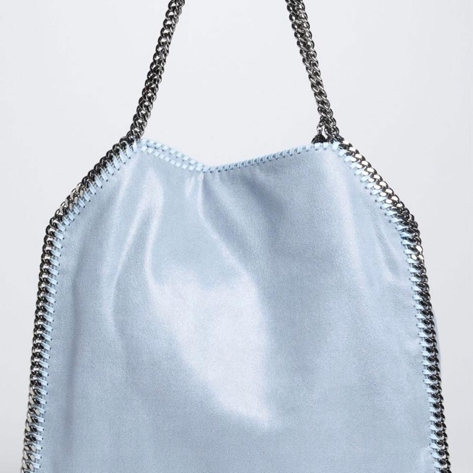 cb389be885236 Stella McCartney Falabella Large Shaggy Deer Blue Vegan Leather Tote ...