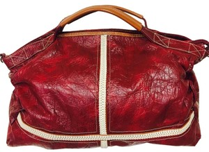 Chocolate Handbags Duffle Leather Red Travel Bag