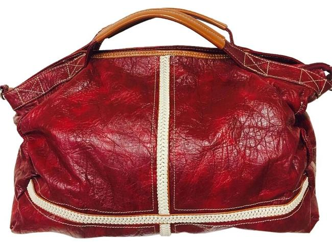 Item - Duffle Cranberry Red Leather Weekend/Travel Bag