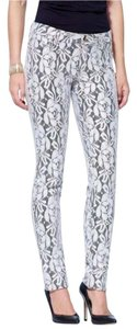 Cache Chic Skinny Pants Silver Metallic Lace Print Over Black