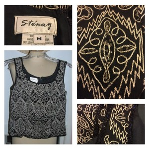 Other Top Black w/ beige & gold embroidery