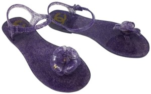 Chanel Jelly Camellia Interlocking Cc Silver Hardware Glitter Purple, Gold Sandals