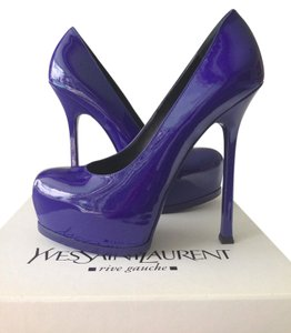 Saint Laurent Patent Pump Stiletto blue Pumps