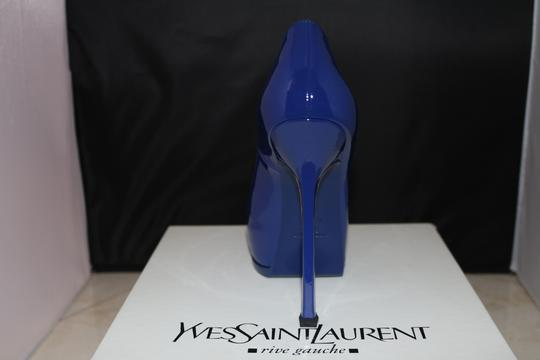 Saint Laurent Patent Stiletto Hidden Platform Platform blue Pumps