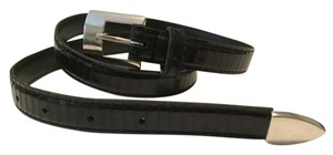 Wilsons Leather Patent Leather Black Belt with Silver Buckle