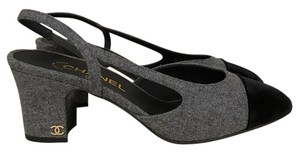 Chanel Coco Tweed Velvet Slingback Classic grey Pumps