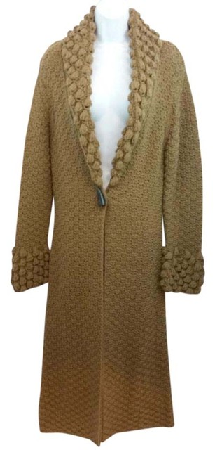 Item - Brown Thick Knit Long Wool Blend Sweater Jacket Coat Size 6 (S)