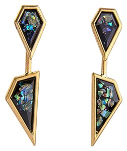 Other Black Iridescent Gold Point Statement Earrings