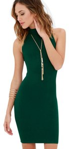 Olivaceous short dress Green Bodycon Mock Neck Ribbed on Tradesy