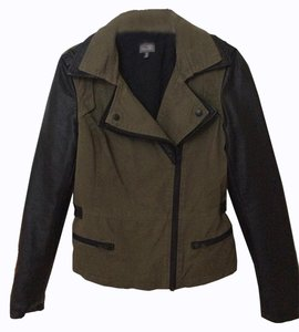 CUSP by Neiman Marcus Army Green/Faux Black Leather Jacket