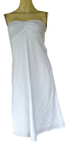 Ann Taylor LOFT short dress White Cotton Halter Tone Striped on Tradesy