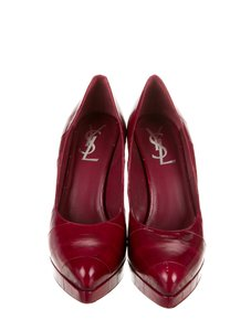 Saint Laurent Designer Leather Real Skin Platforms Red Pumps