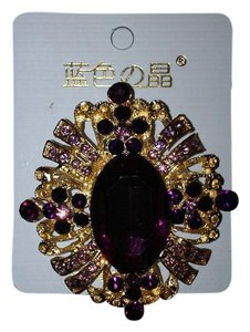 Other Purple Crystal and Gold Plated Oval Pin/Brooch