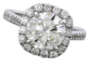 Ladies 18K White Gold Round Brilliant Diamond Halo Engagement Ring GIA