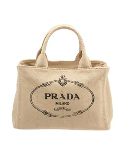 Prada B2439g Canvas Tote in Tan