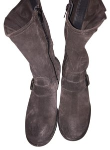 Paul Green Suede Upper Side Zip Distressed Lugged Sole Grey Boots