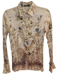 Roberto Cavalli Top Cream (Gold, Blue & Olive Green accents)