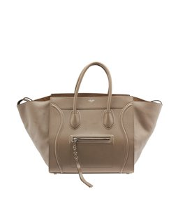 Céline Celine Luggage Leather Tote in Tan