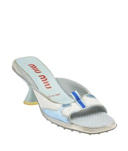 Miu Miu Mules Heels ,Blue,White Sandals