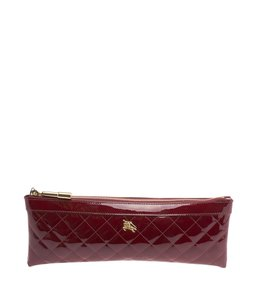 Burberry Quilted Patent Leather Burgundy Clutch