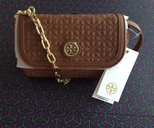 Tory Burch Quilted Bryant Reva Gold Chain Cross Body Bag