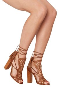 SCHUTZ Leather Tassels Brown Sandals