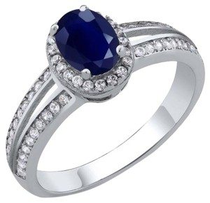 Gem Stone King 1.15 Ct Blue Sapphire 925 Sterling Silver Women's Ring Size 5 to 9