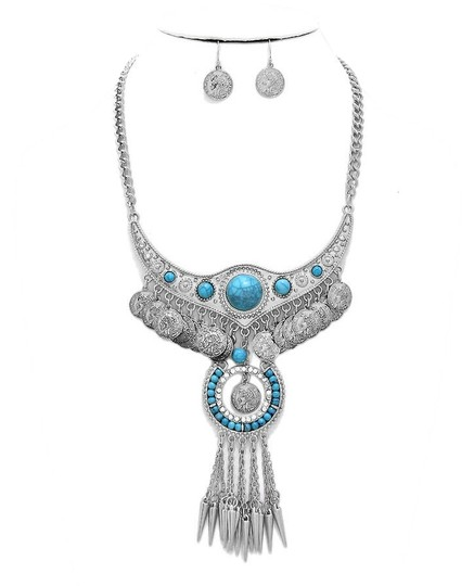Other Crystal Accent Boho Tribal Spike Turquoise Stone Silver Necklace Bib Collar Pendant Earring Set