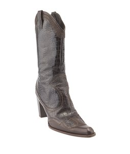 Stuart Weitzman Black & Brown Cowboy Pointed Toe Black,Brown Boots
